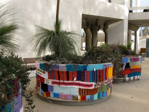 Wrapped planters at the lower entrance to the NGA