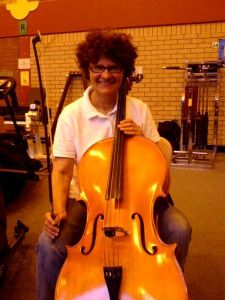 Kate Grenville with her cello