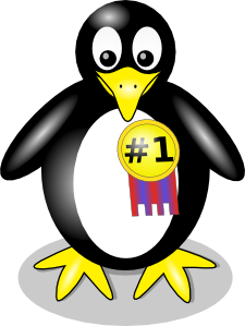 Penguin with No. 1 ribbon