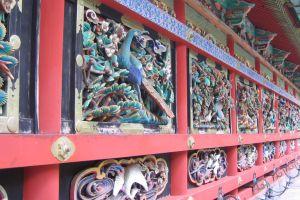 Woodwork on temple in Nikko, Japan