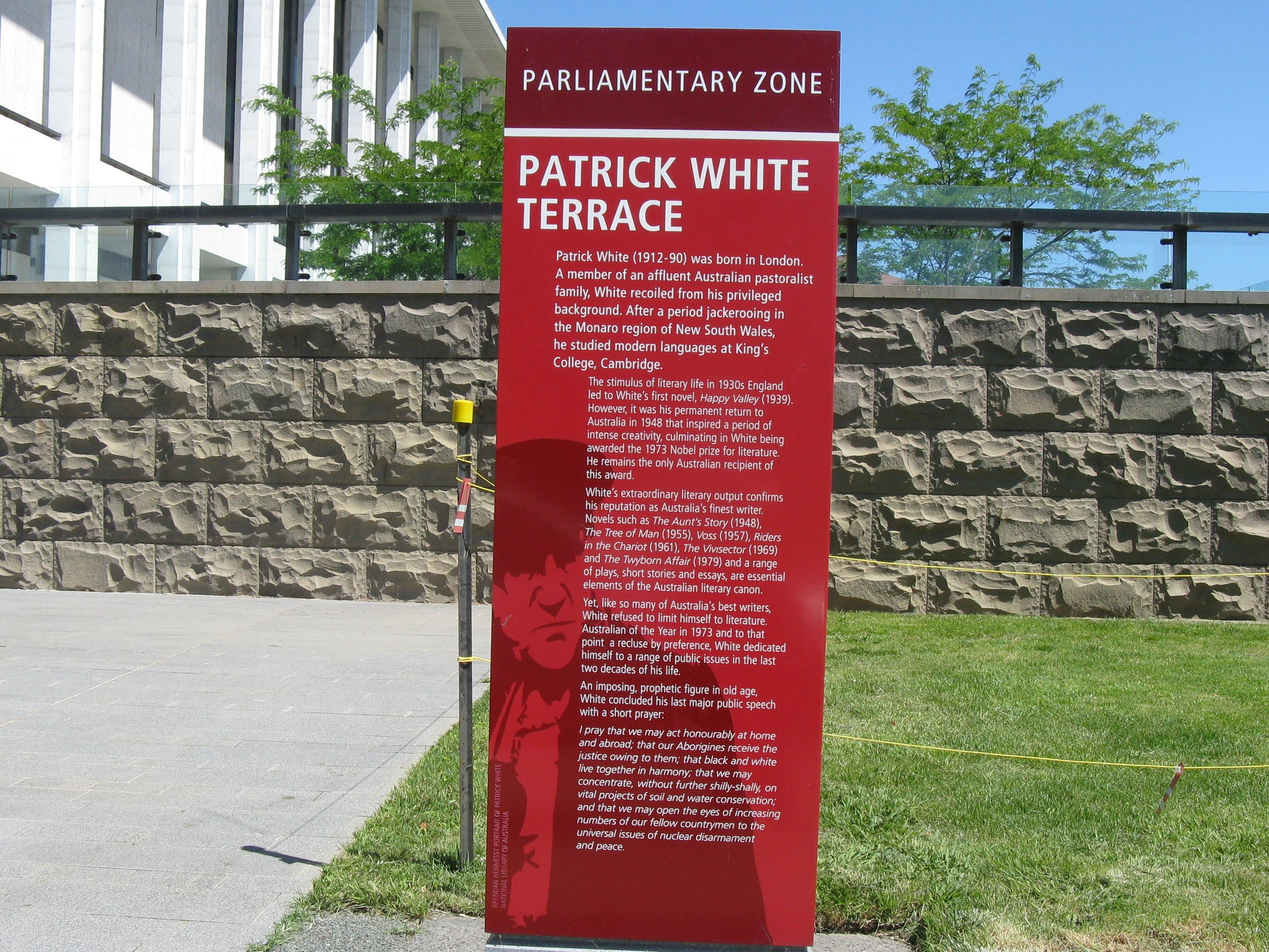 Monday musings on australian literature patrick white and for Terrace meaning in english