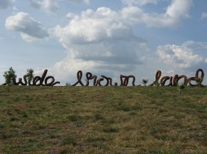 Wide Brown Land sculpture