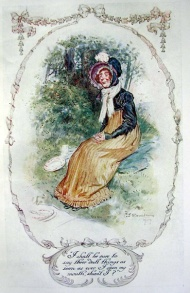 Miss Bates, I shall be sure to say three dully things (Illustration by CE Brock, 1909,  from solitary elegance.com)