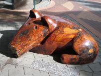 Wooden dog sculpture