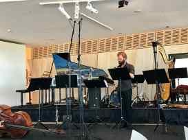 Instruments set up before concert