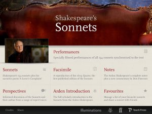 SHAKESPEARE SONNETS APP MENU